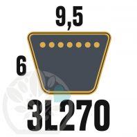 Courroie Trapézoïdale 3L270 Renforcée Kevlar. 9.5mm x 686mm