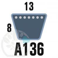 Courroie Trapézoïdale A136 Néoprène. 13mm x 3504mm