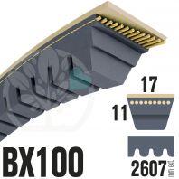 Courroie Trapézoïdale Crantée BX100 Néoprène. 17mm x 2607mm