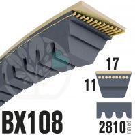 Courroie Trapézoïdale Crantée BX108 Néoprène. 17mm x 2810mm