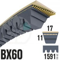 Courroie Trapézoïdale Crantée BX60 Néoprène. 17mm x 1591mm