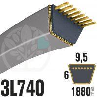 Courroie Trapézoïdale 3L740 Renforcée Kevlar. 9.5mm x 1880mm