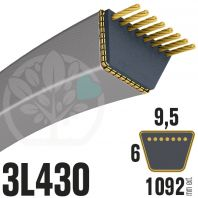 Courroie Trapézoïdale 3L430 Renforcée Kevlar. 9.5mm x 1092mm