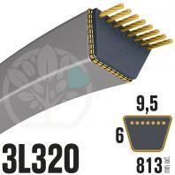 Courroie Trapezoïdale  3L320 Renforcée Kevlar. 9.5mm x 813mm