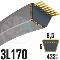 Courroie Trapézoïdale 3L170 Renforcée Kevlar. 9.5mm x 432mm