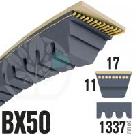 Courroie Trapézoïdale Crantée BX50 Néoprène. 17mm x 1337mm