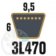 Courroie Trapézoïdale 3L470 Renforcée Kevlar. 9.5mm x 1194mm