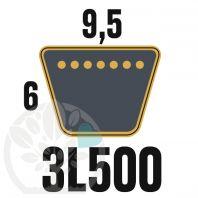 Courroie Trapézoïdale 3L500 Renforcée Kevlar. 9.5mm x 1270mm