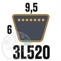 Courroie Trapézoïdale 3L520 Renforcée Kevlar. 9.5mm x 1321mm