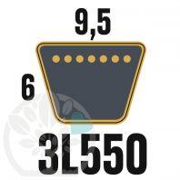 Courroie Trapézoïdale 3L550 Renforcée Kevlar. 9.5mm x 1397mm