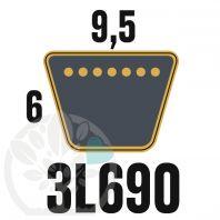 Courroie Trapézoïdale 3L690 Renforcée Kevlar. 9.5mm x 1753mm