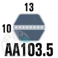 Courroie Héxagonale AA103.5 (6 côtés). 13mm x 2628mm