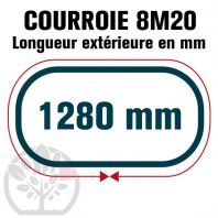 Courroie Simple Denture 1280-8M20 (160 dents). 1280mm x 20mm
