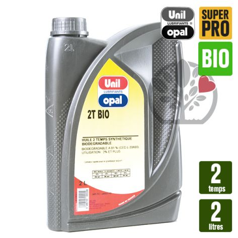 Huile 2 temps, 2 litres Unil Opal Bio. Tondeuse, tronçonneuse, débroussailleuse